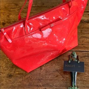 Kate Space Sophie High Shine Dot and Bow Tote